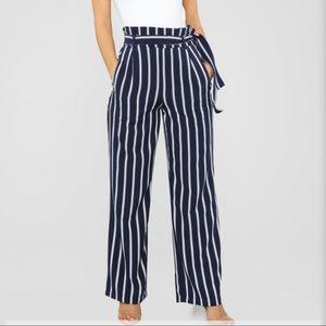 Tie waist pants navy/blue